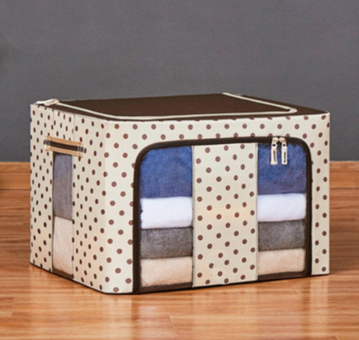 布藝棉麻圖案衣物收納箱,玩具收納箱(60*42*40cm 米色)#906_00006