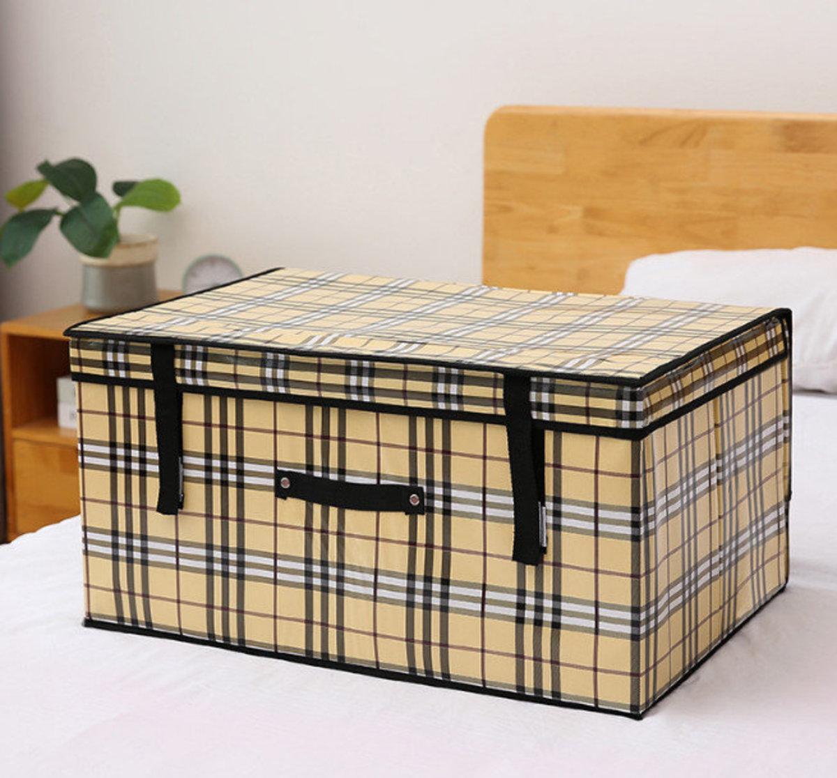 布藝棉麻圖案衣物收納箱,玩具收納箱(60*40*30cm 格子)#906_00013