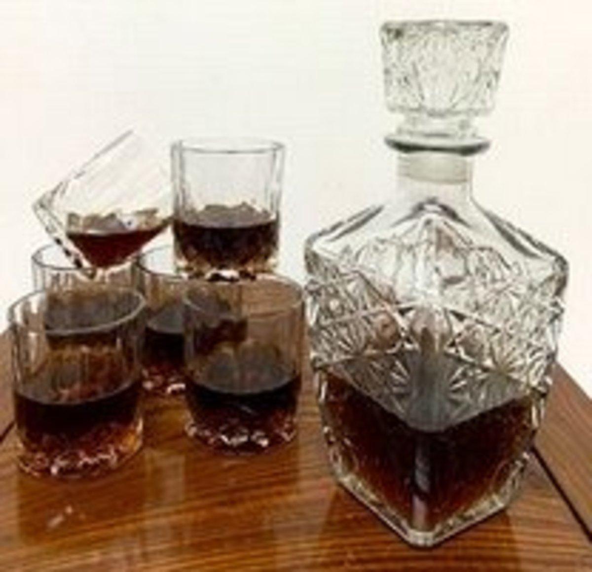 水晶醒酒器套裝1000ml(鑽石瓶+6個酒杯)#908_00003A