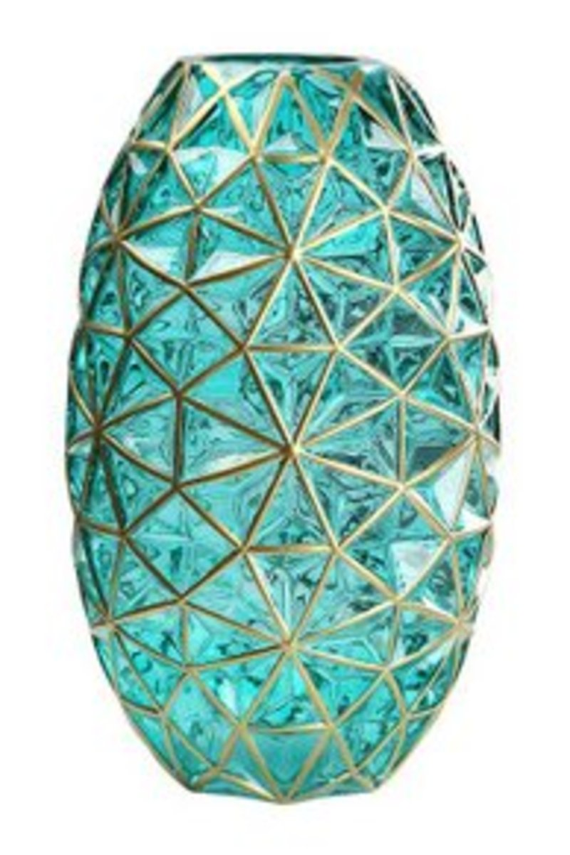 創意鑽石紋玻璃花瓶(鑽石紋2034綠色)#909_00001A