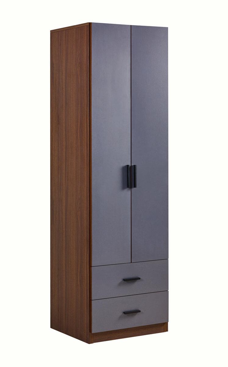 胡桃色配鐵灰色23.6寸雙掩門兩櫃桶衣櫃