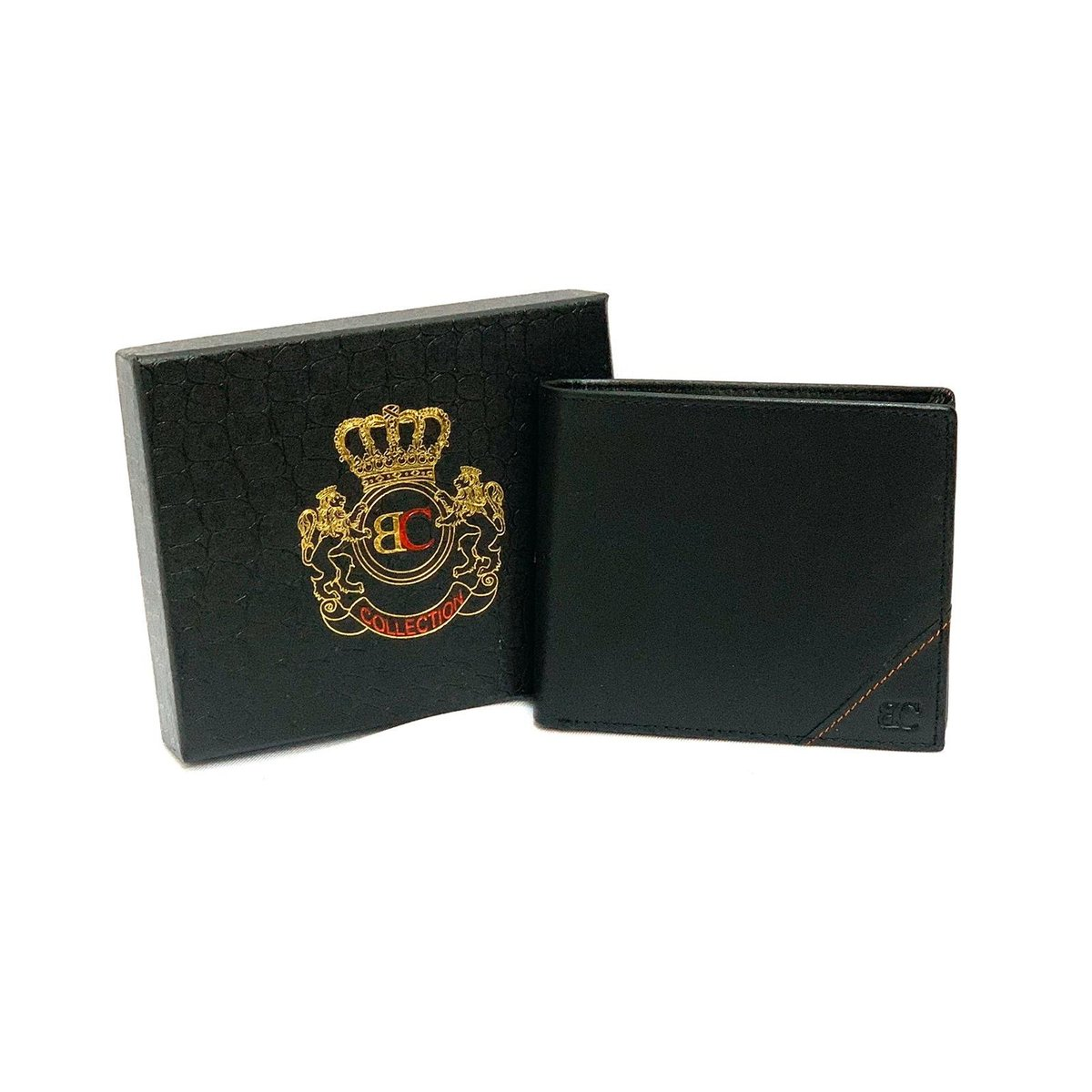 6 card slots+Coin Case Leather zipper Bifold Wallet -with gift box (Black)