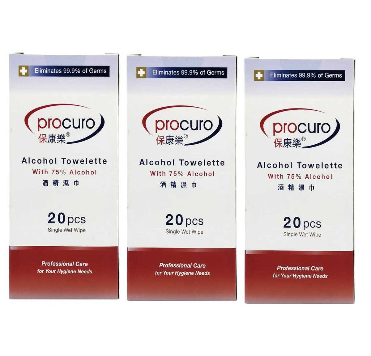 Alcohol towelette wipes box of 20s (individual package) (3 boxes)