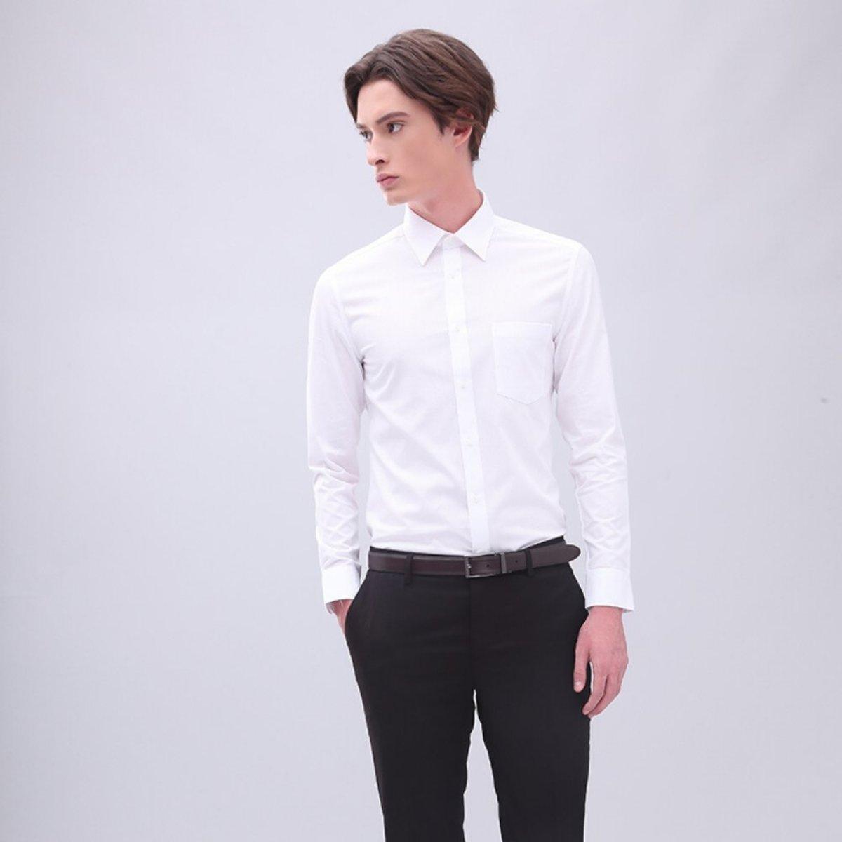 【易打理系列】男士 棉混紡防皺有袋斜紋恤衫 (白色)