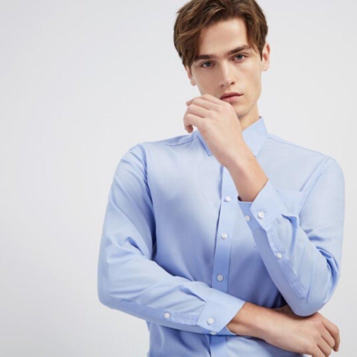 【Non-iron】Men's Fine Cotton Plain Weave Long Sleeve Shirt (Blue)