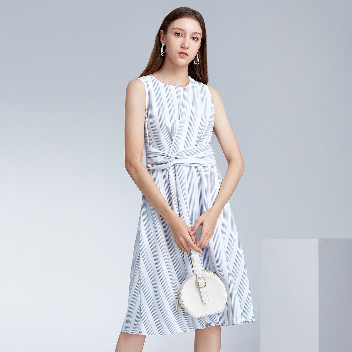 WOMEN'S STRIPED DRESS(blue/white)
