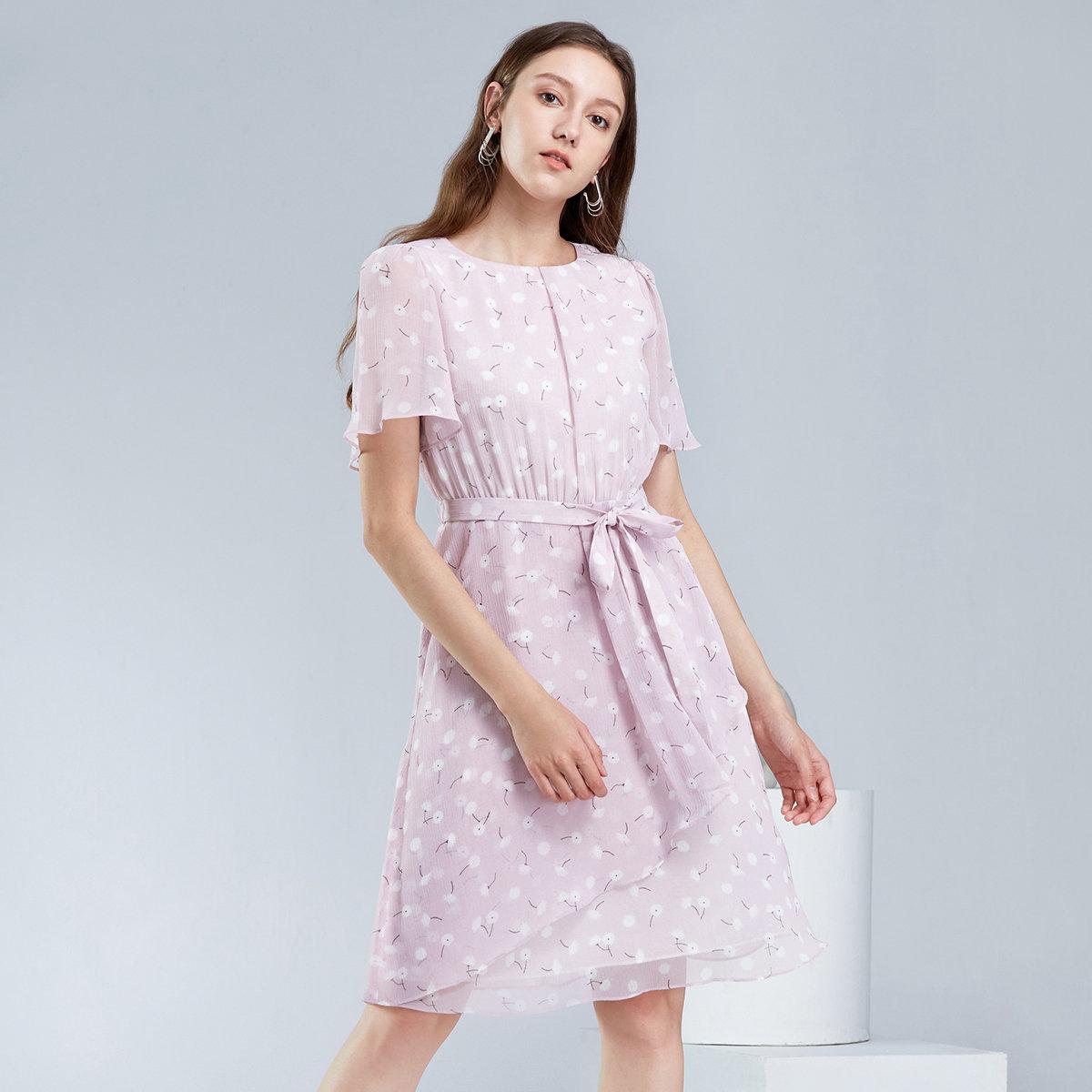 WOMEN'S CHIFFON DRESS(pink)