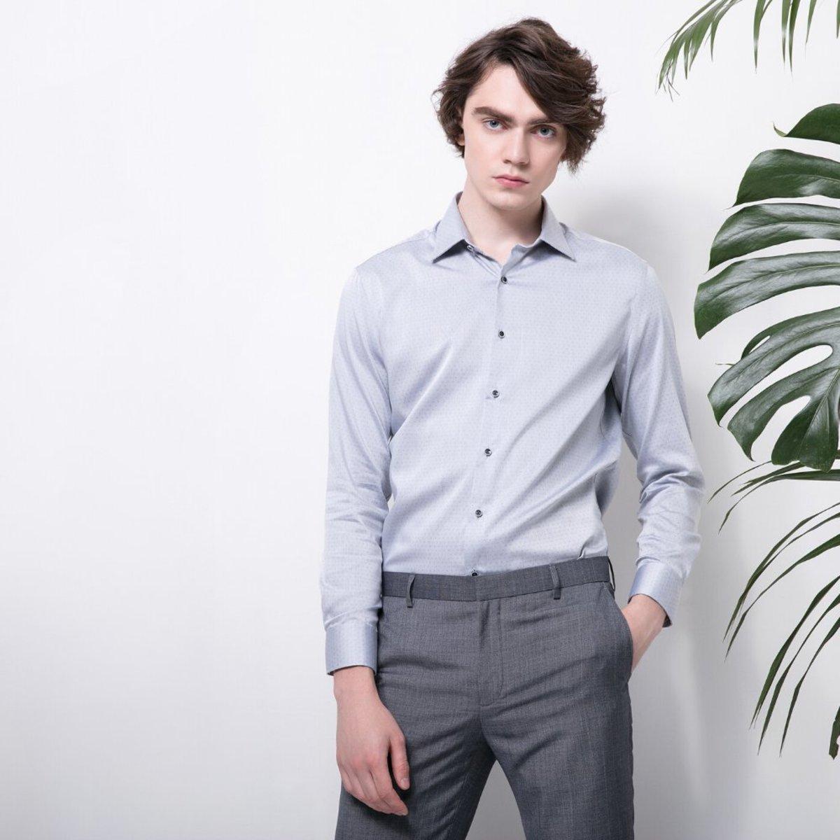 Men's Cotton Dotted Shirt (Grey)