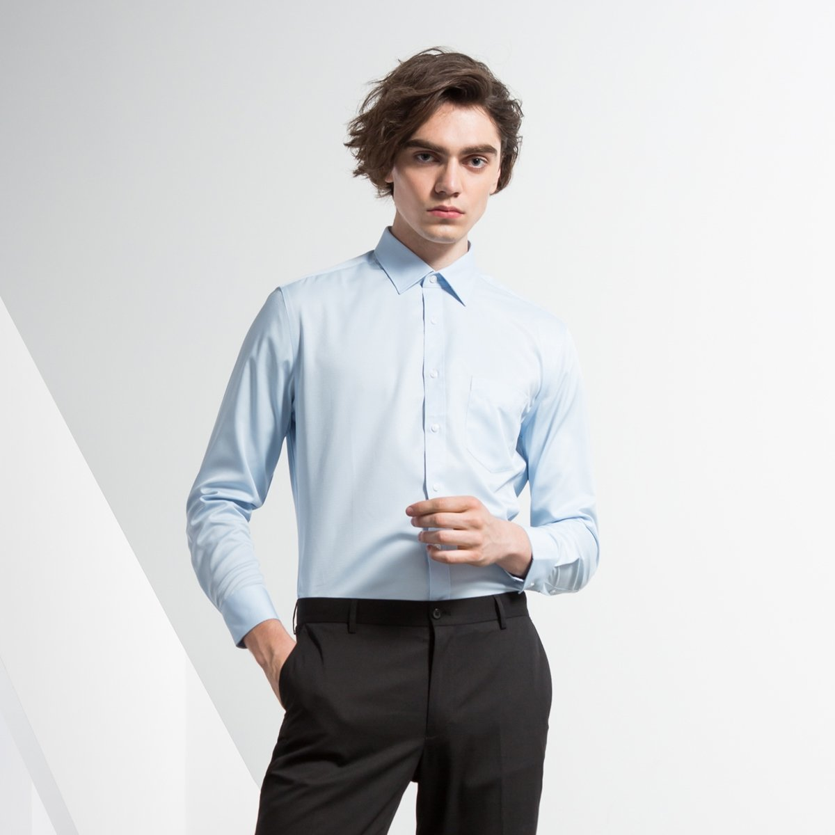 MEN'S EASY CLEAN LONG SHIRT(blue)