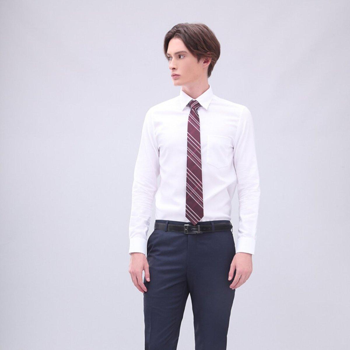男士 全棉有袋鈕扣領斜紋恤衫 (白色)
