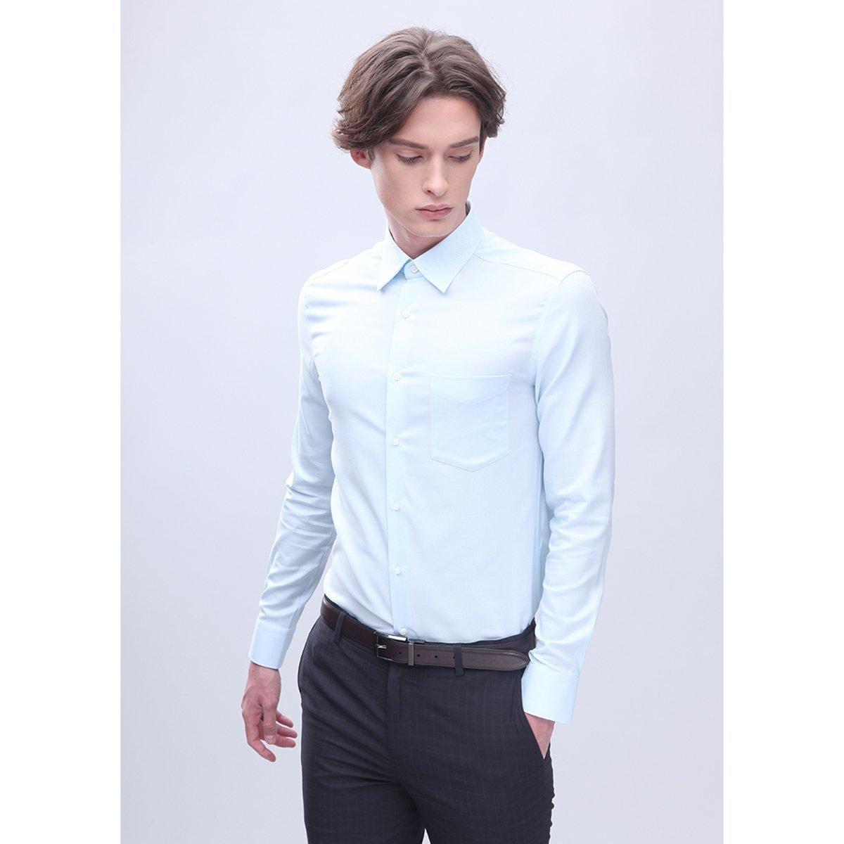 男士 全棉有袋鈕扣領斜紋恤衫 (淺藍色)