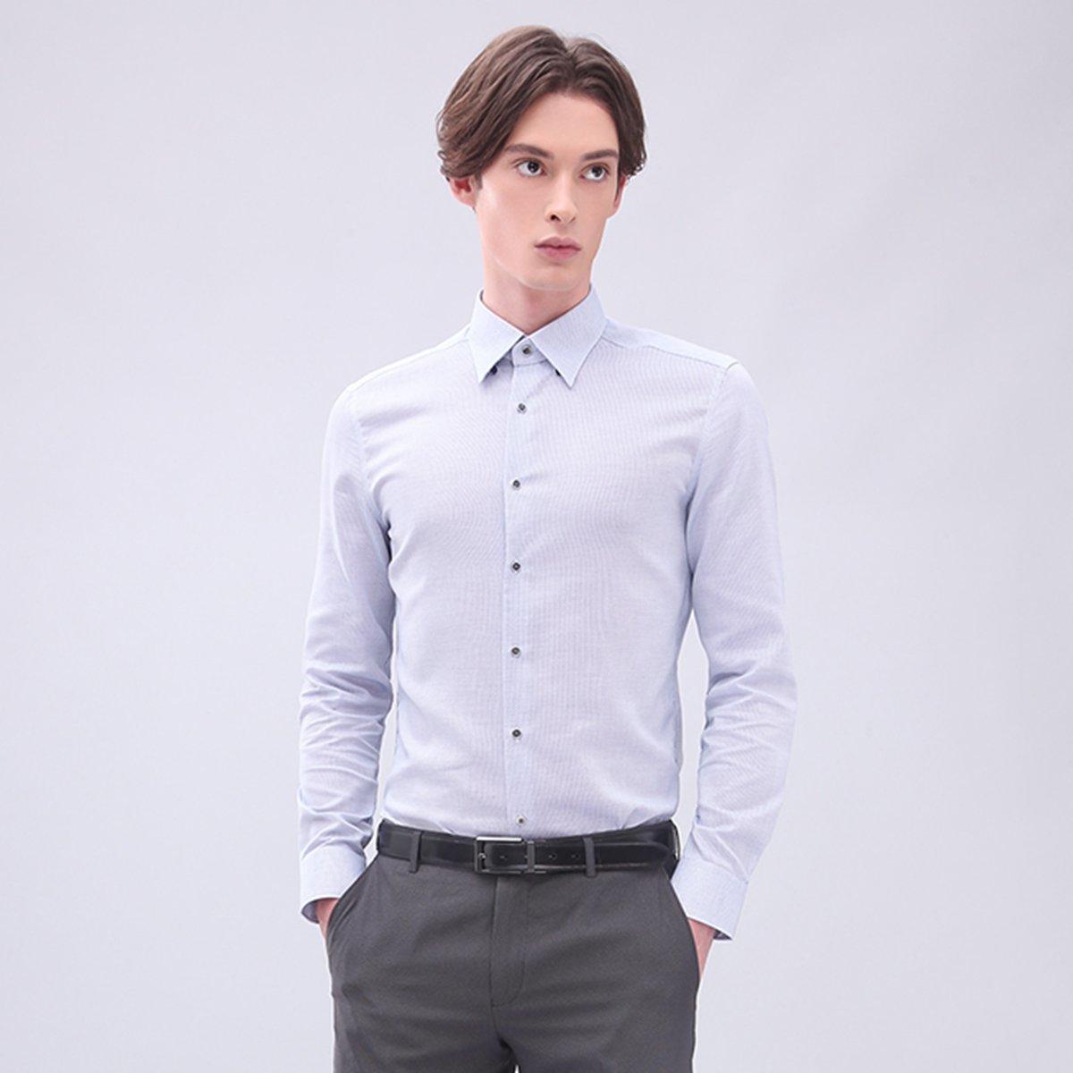 男士 全棉鈕扣領細密網紋恤衫 (灰藍色)