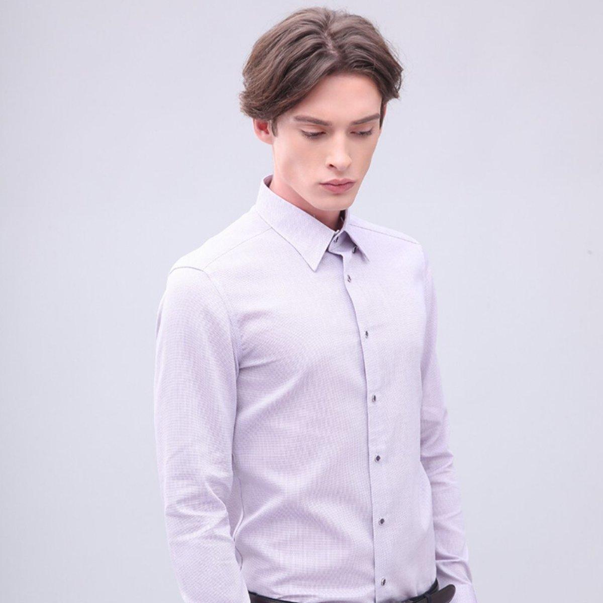 男士 全棉鈕扣領細密網紋恤衫 (紫色)