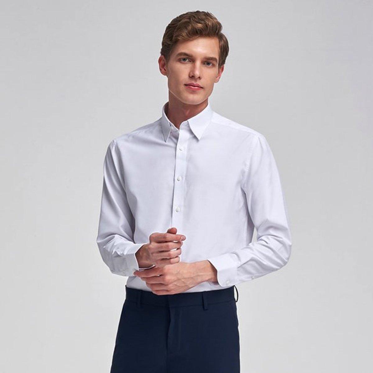 Men's Twilled Long-sleeved Shirt (White)