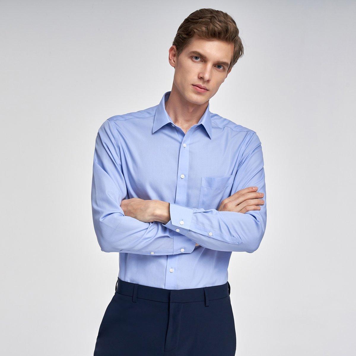 MEN'S NON-IRON LONG SHIRT(blue)
