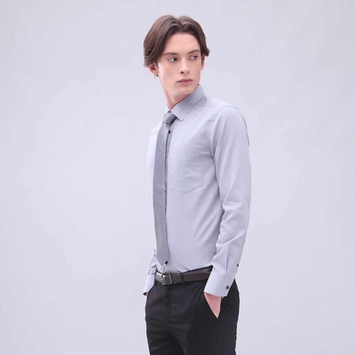 【Non-iron】Men's Cotton Poplin Shirt (Grey)