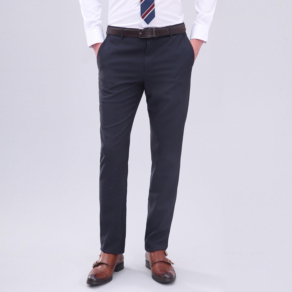 Men's Regular Fit Plain Weave Chinos (Dark Navy)