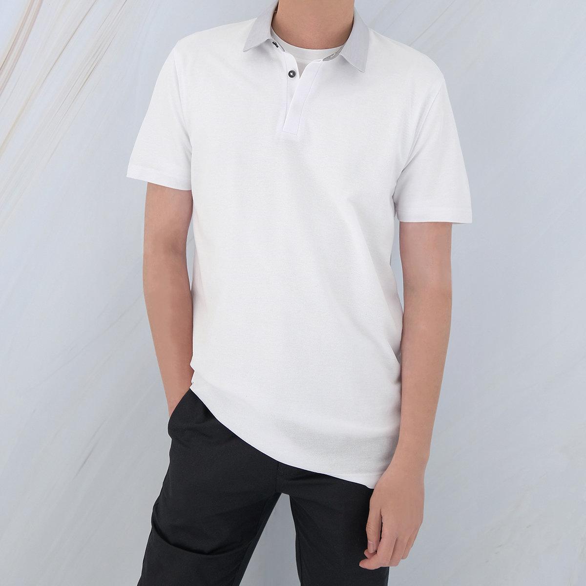 Men's Cotton Blend Polo Shirt (White)
