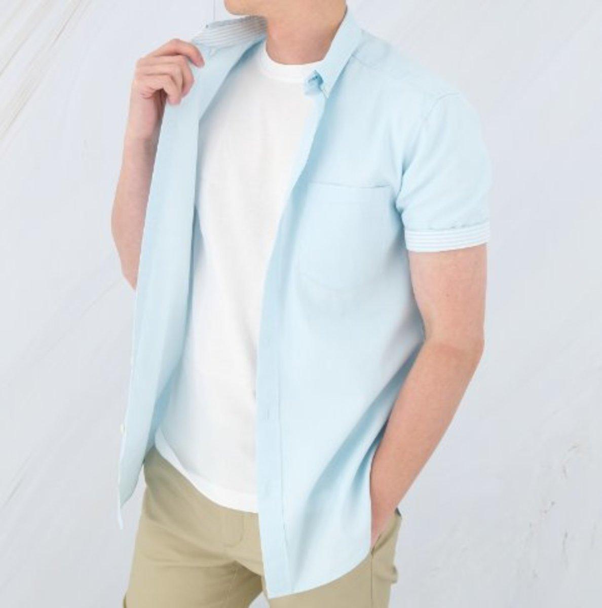 Men's Cotton Oxford Short Sleeve Shirt (Moss)