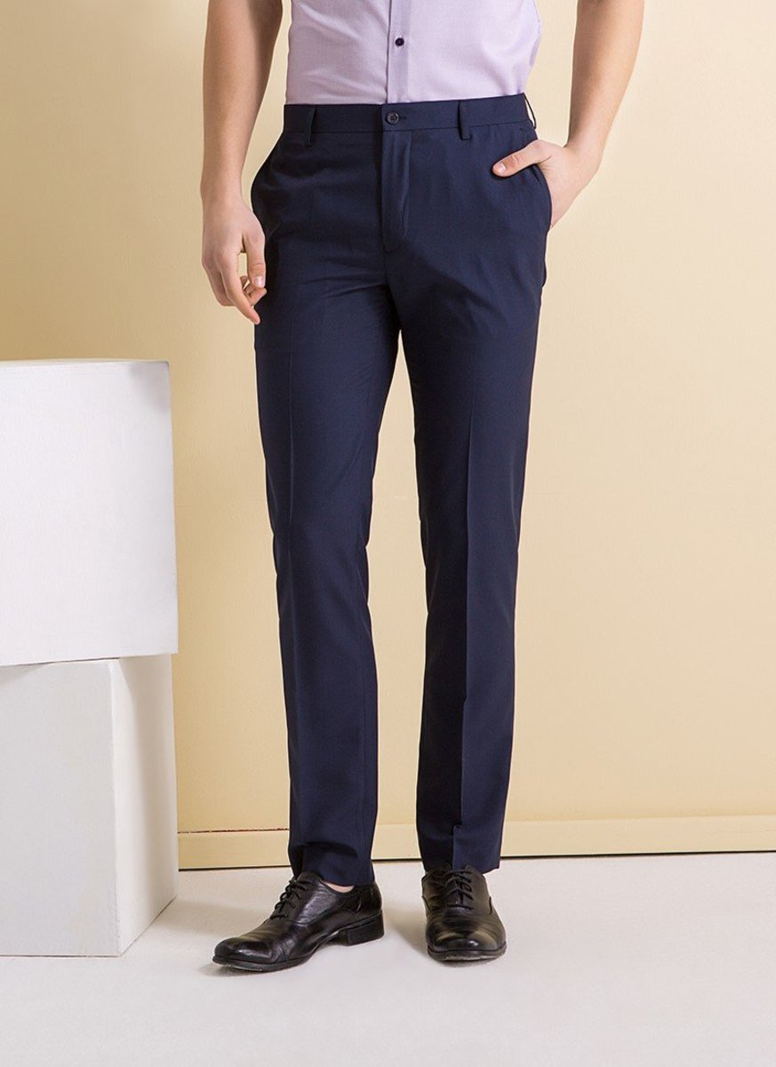 Men's Slim Fit Quick Dry Breathable Plain Weave Trousers (Dark Navy)