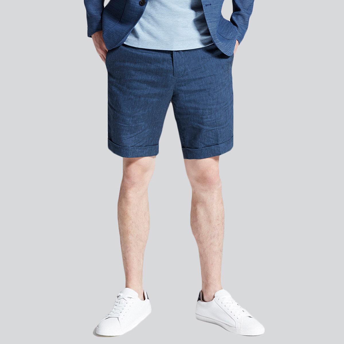 Men's Linen Blend Shorts (Dark Denim)