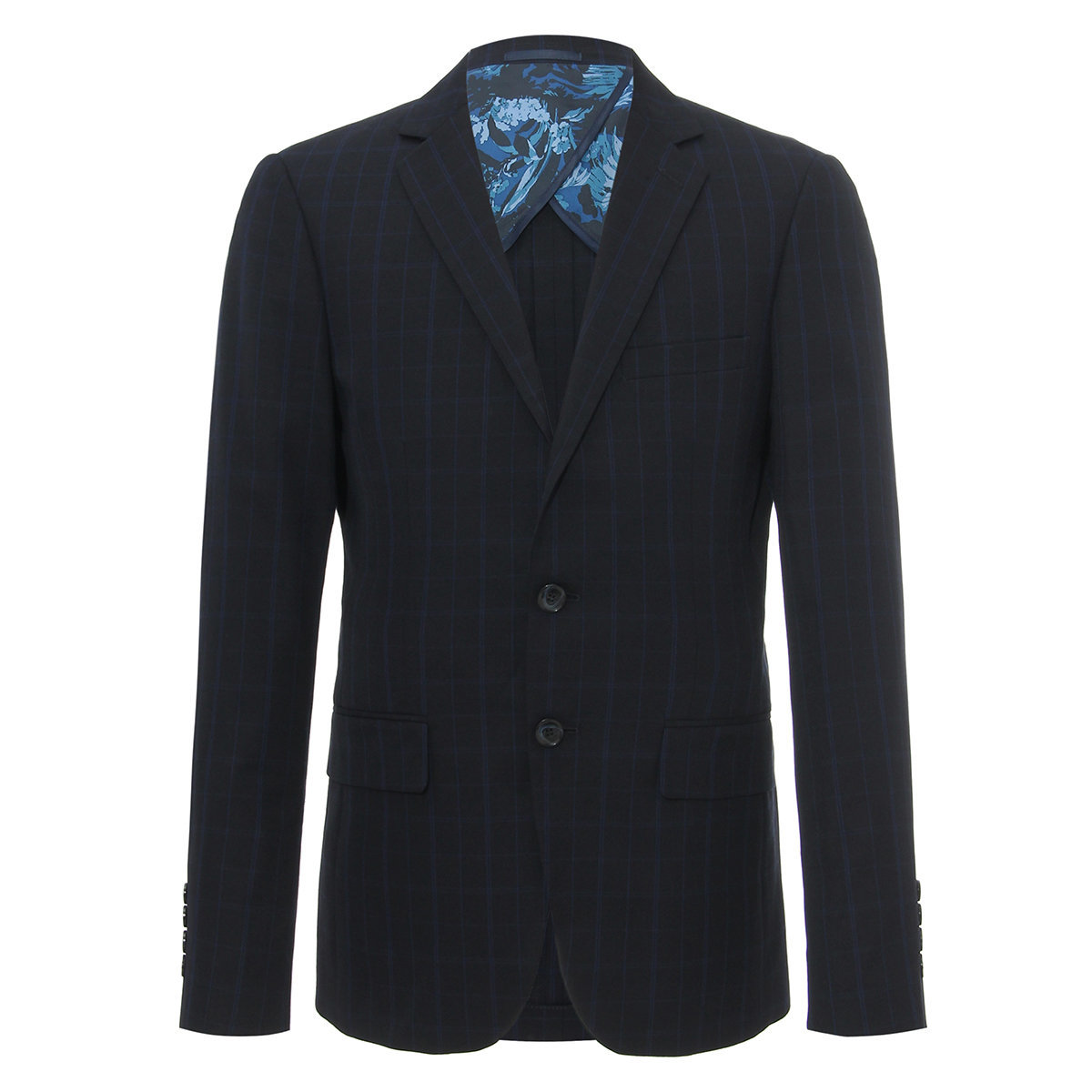Men's Regular Fit Terry Rayon Checked Suit Blazer(navy)