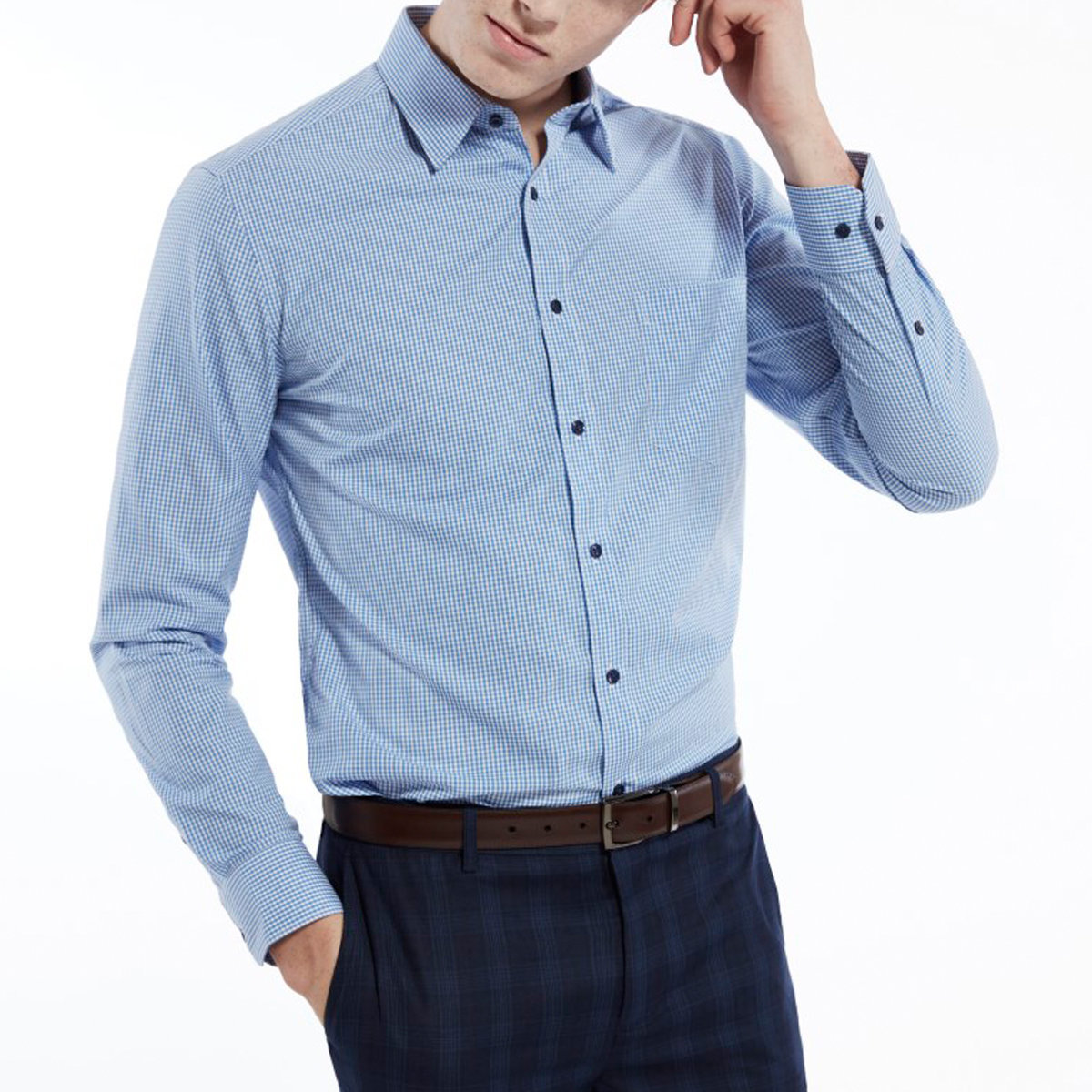 Men's Comfort Cotton Checked Shirt (Twilight Blue)