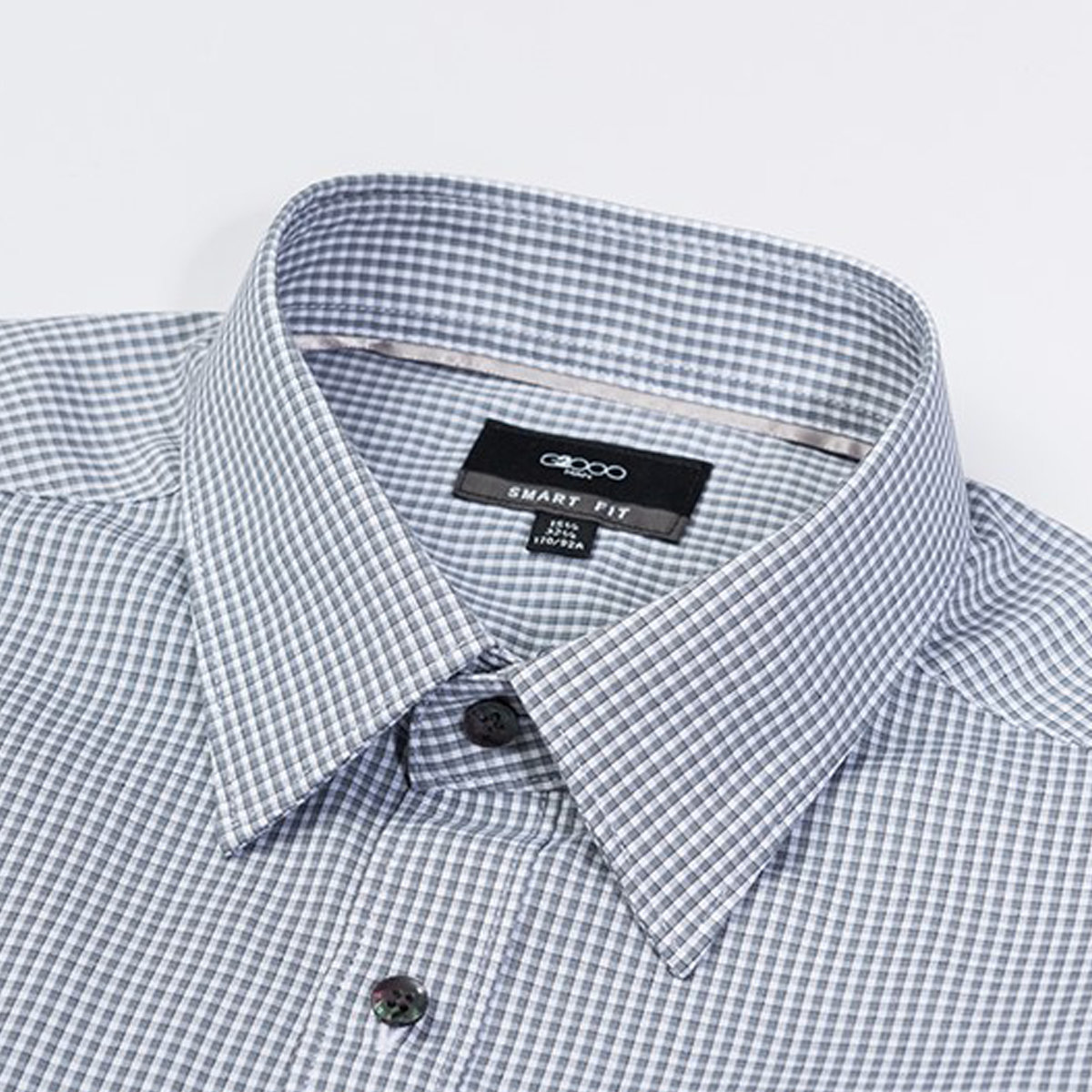 Men's Comfort Cotton Checked Shirt (Steel Grey)