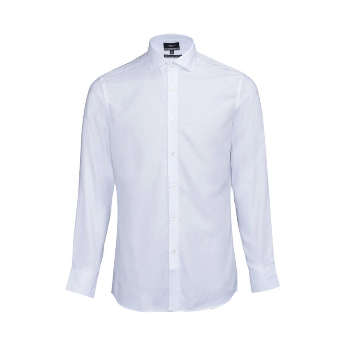 【Non-iron】Men's Fine Cotton Oxford Long Sleeve Shirt (White)