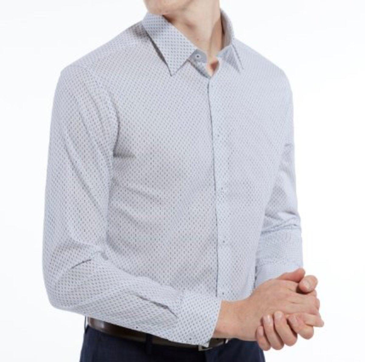 Men's Fine Cotton Long Sleeve Shirt (White)