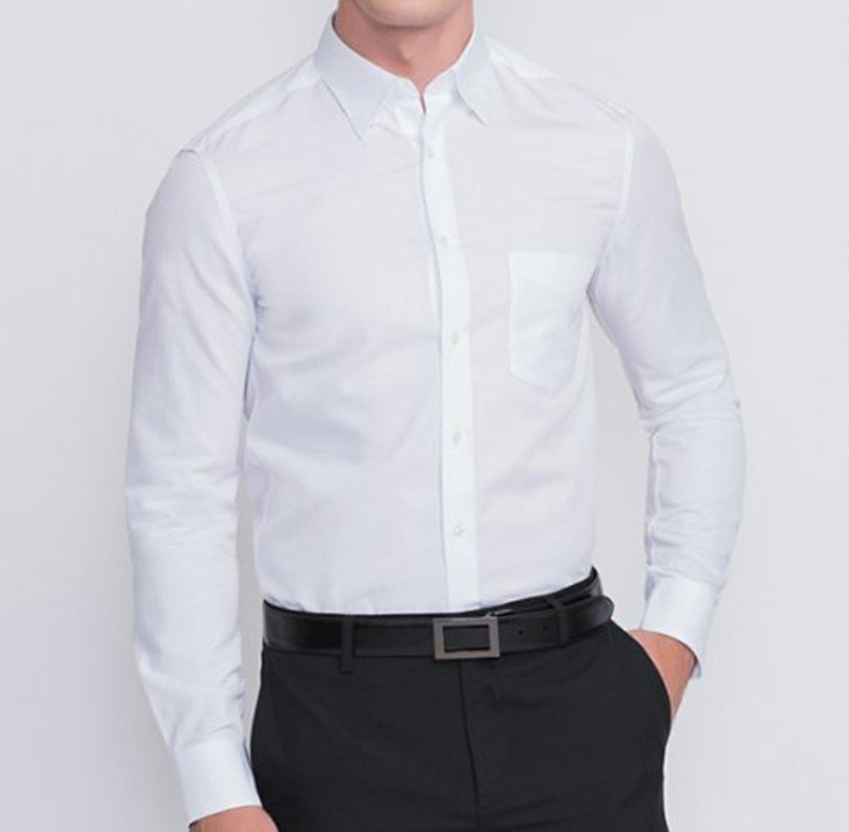 【Non-iron】Men's Fine Cotton Twill Long Sleeve Shirt (White)