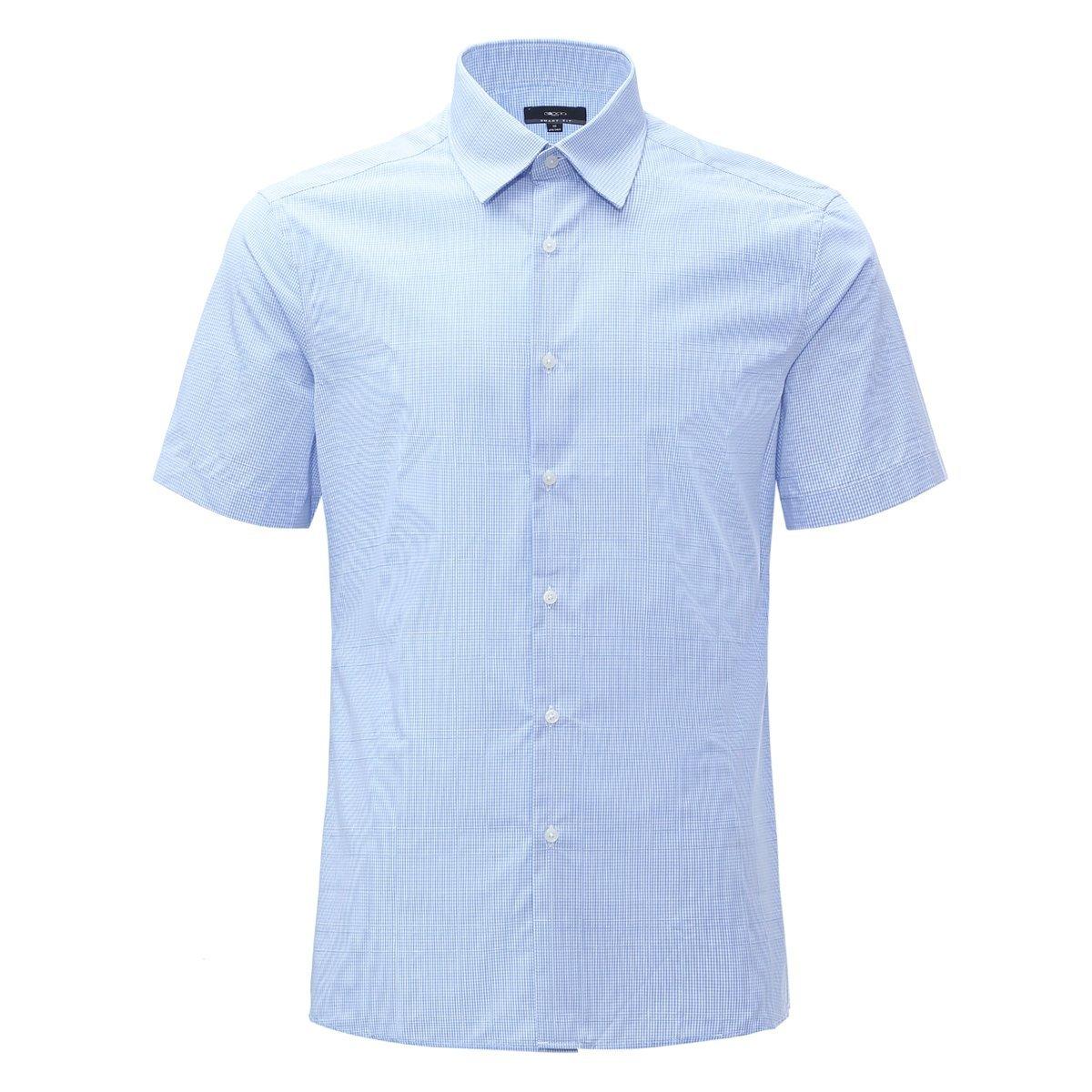 MEN'S SHORT CHECKED SHIRT(blue)