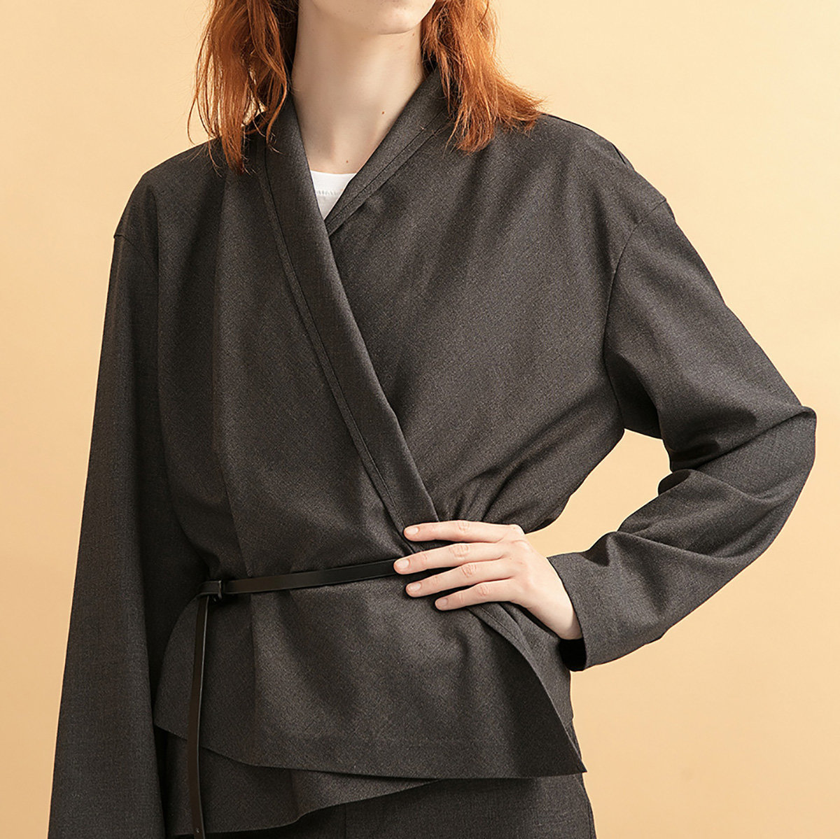 Women's Flannel Wrap Jacket (with Belt) (Dark Grey)