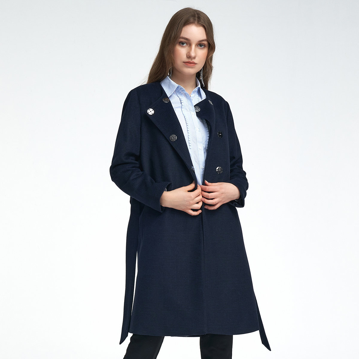 WOMEN'S LONG-CUT WOOL COAT(navy)