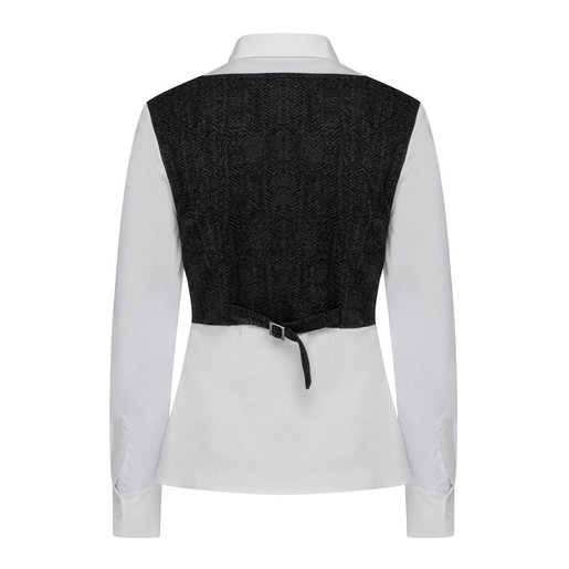 G2000 Women S Body Con Shirt With Stretch Herringbone Cutout White And Black Size 30 Hktvmall Online Shopping