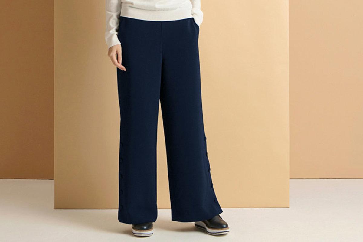 Women's Side-Buttoning Wide Leg Pants