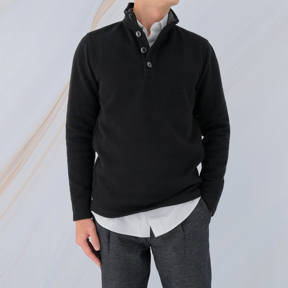Men's Cotton French Rib Long Sleeve Tee (Black)