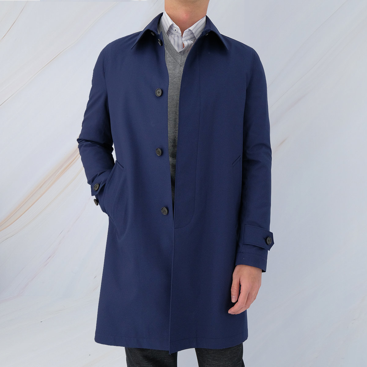 Men's Mac Coat (Dark Denim)