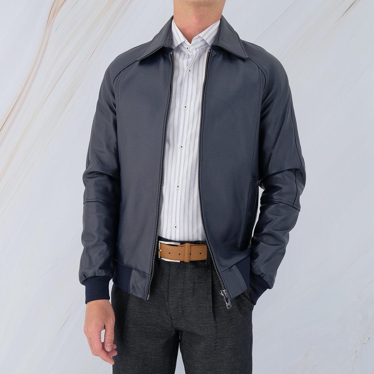 Men's Lamb Nappa Jacket with Detechable Collar (Peacoat)