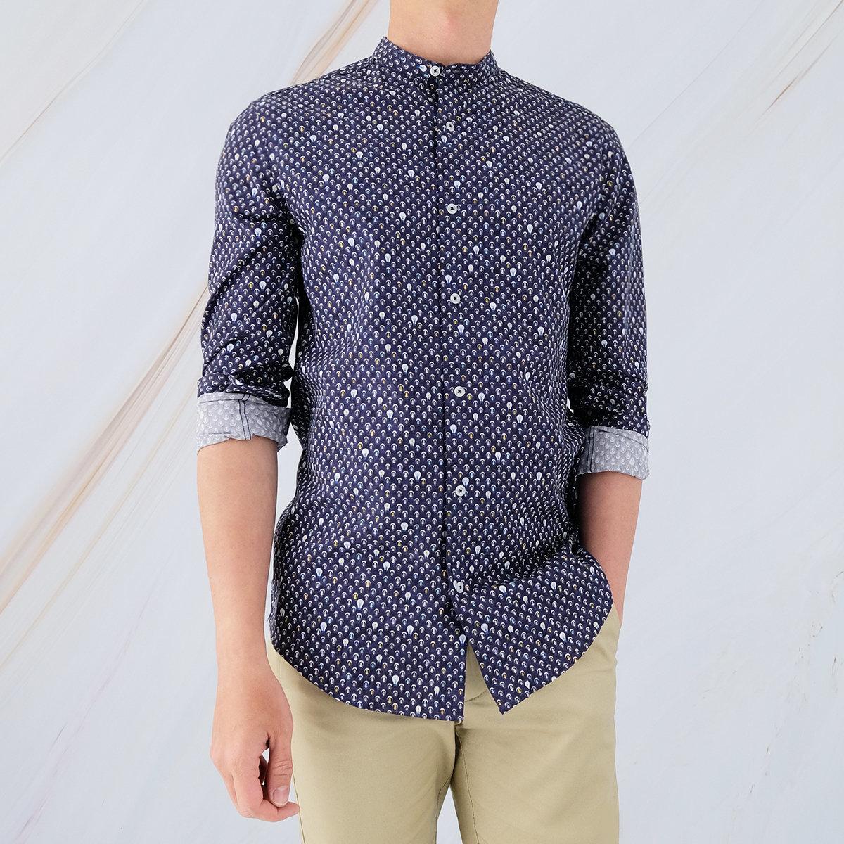 Men's Cotton Printed Shirt (Peacoat)