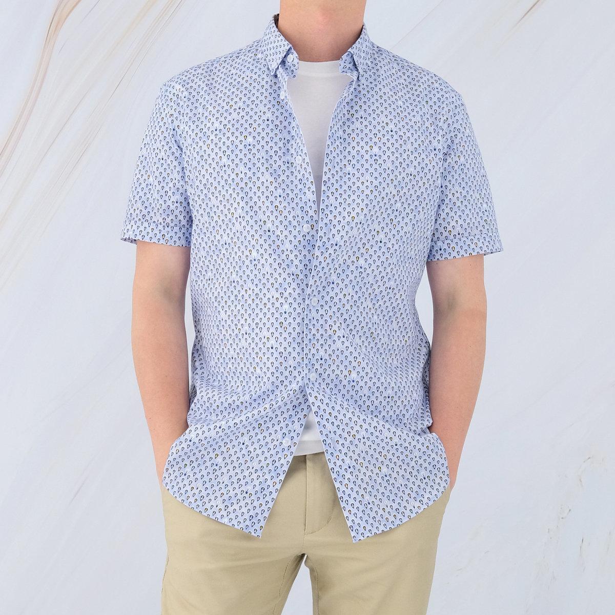 Men's Cotton Short Sleeve Printed Shirt (Strong Blue)
