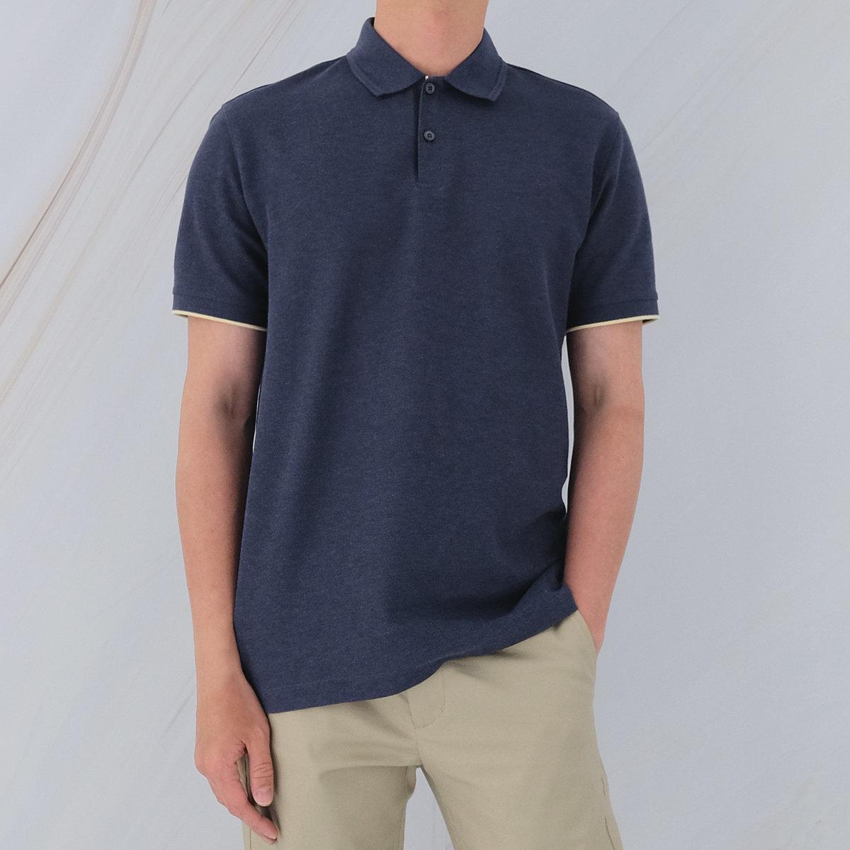 Men's Cotton Blended Polo (Dark Navy)