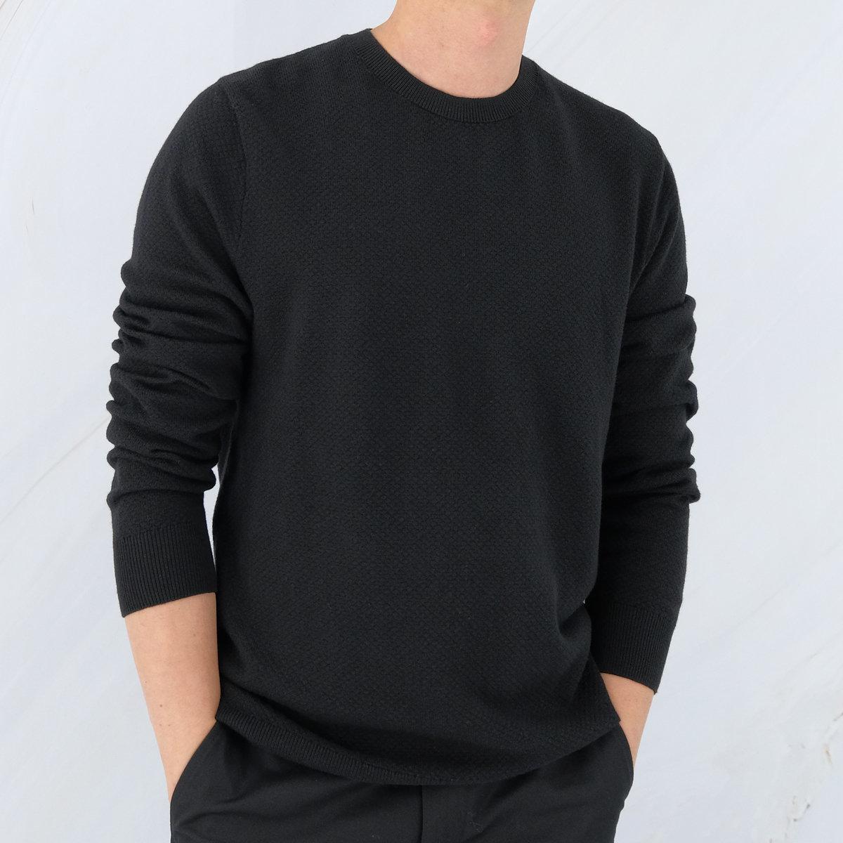 Men's Cotton Blend Round-neck Sweater (Black)
