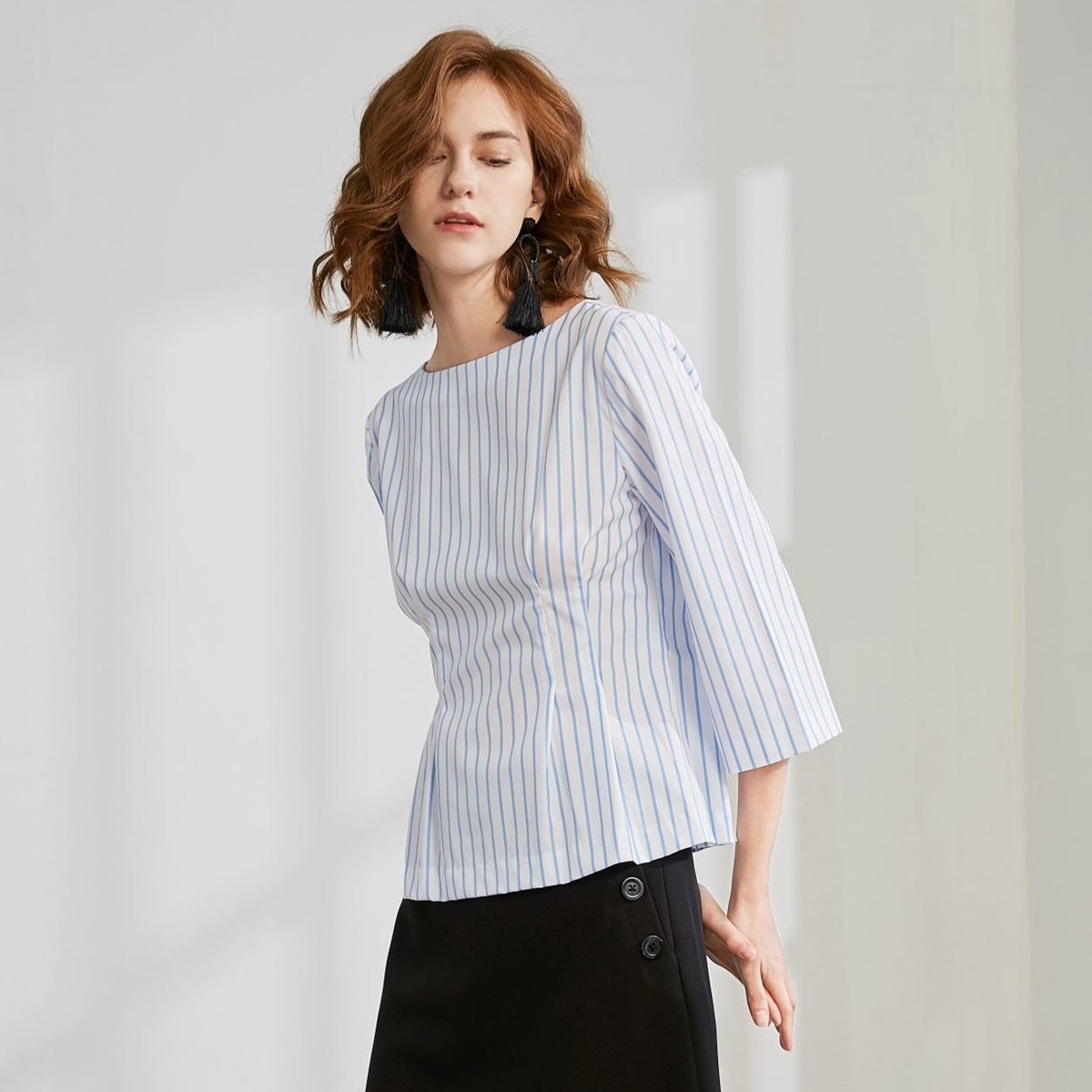 Women's Striped Top (White and Blue)