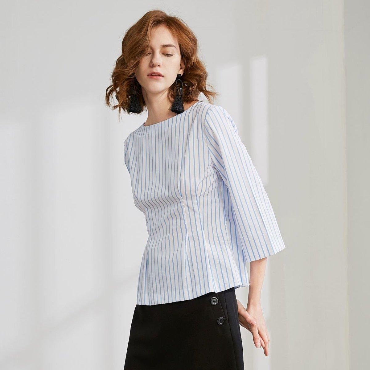 女士 條子圓領上衣 (白色藍色)