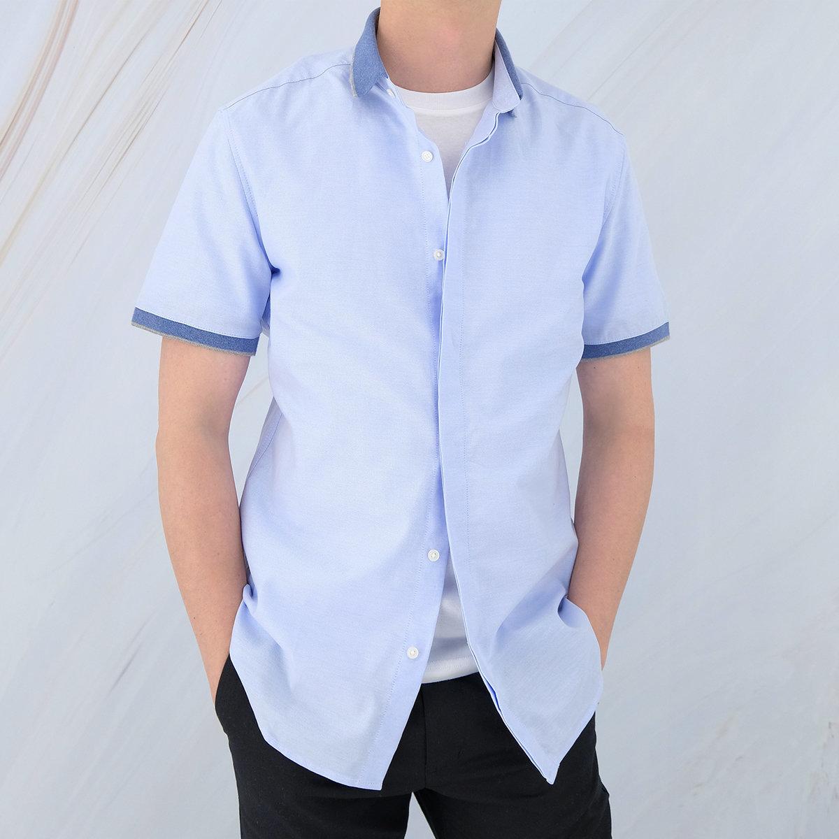 Men's Cotton 2-tone Oxford Short Sleeve Causal Shirt (Aqua)