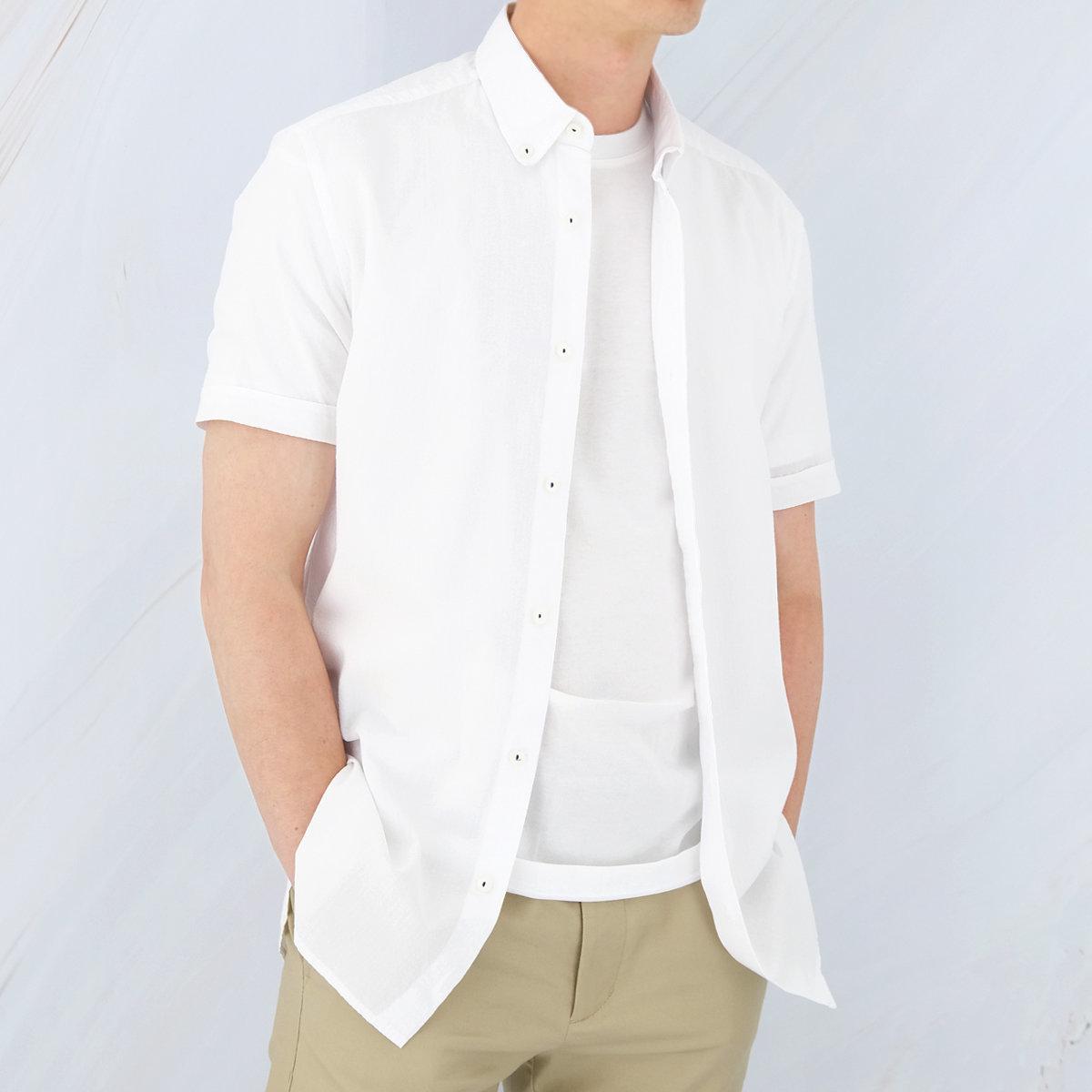 Men's Cotton Short Sleeves Shirt (White)