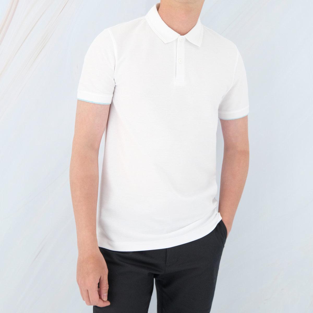 Men's Cotton Polyester Blended Polo (White)