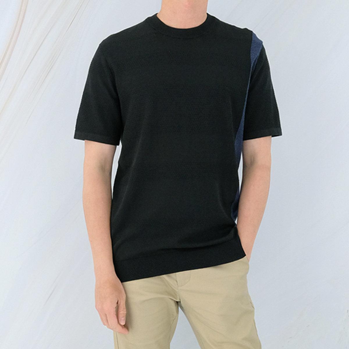 Men's Cotton Color Block Sweater (Black)