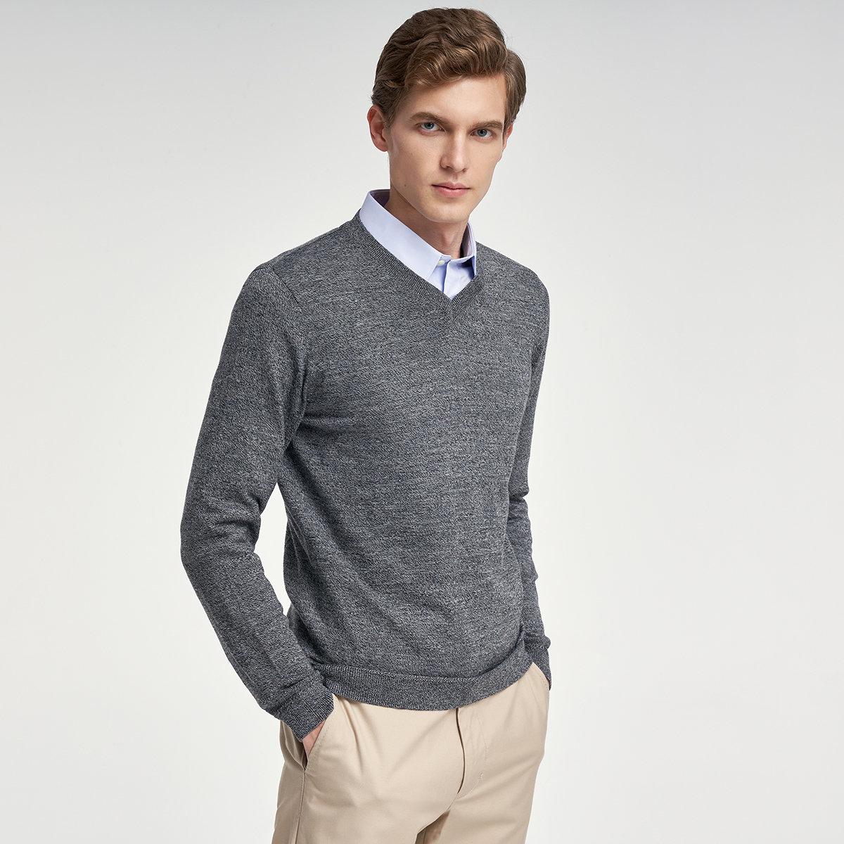 MEN'S V-NECK SWEATER(gray)